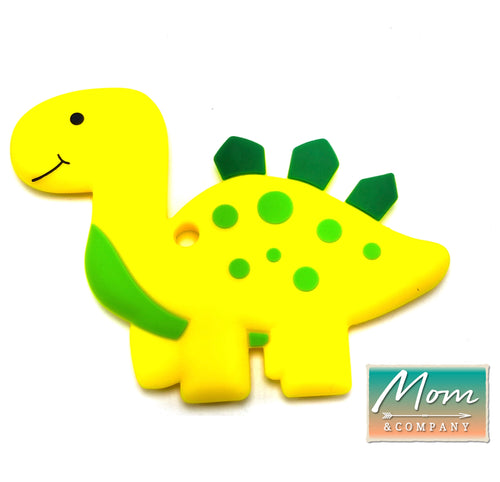 BPA-Free Baby Dinosaur Baby Teething Toy 100% Food Grade Silicon Teether (Yellow)