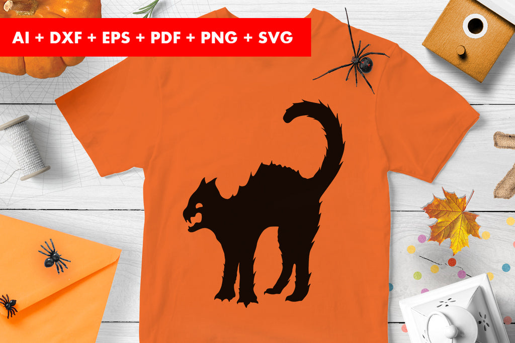 Black cat Halloween Vector SVG PNG