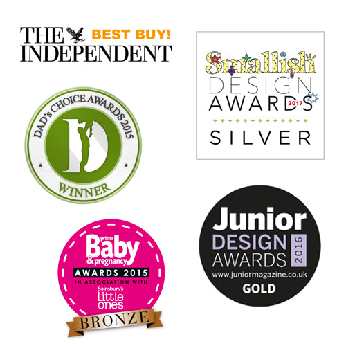 All of the fabulous awards Kiddimoto have won such as Dad's Choice, Junior Design and Smallish