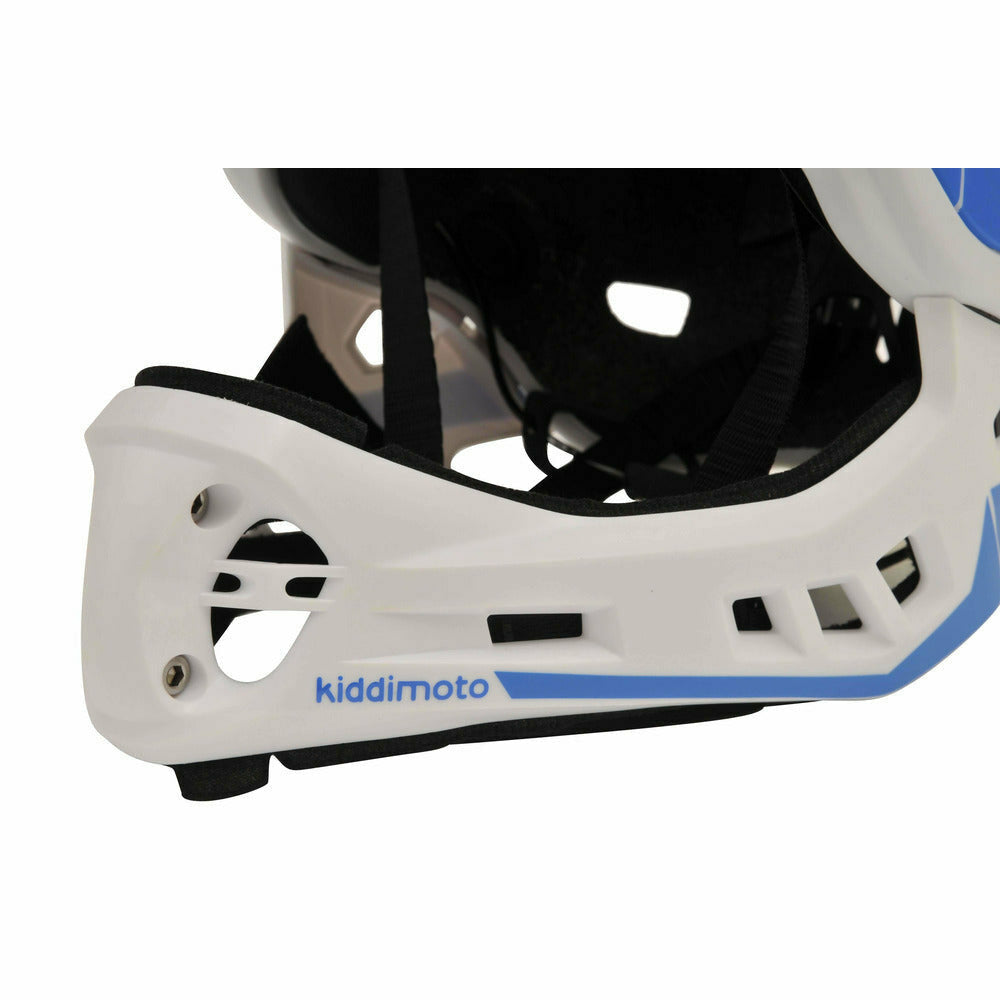 Kiddimoto IKON Full Face Helmet For Kids White/Blue