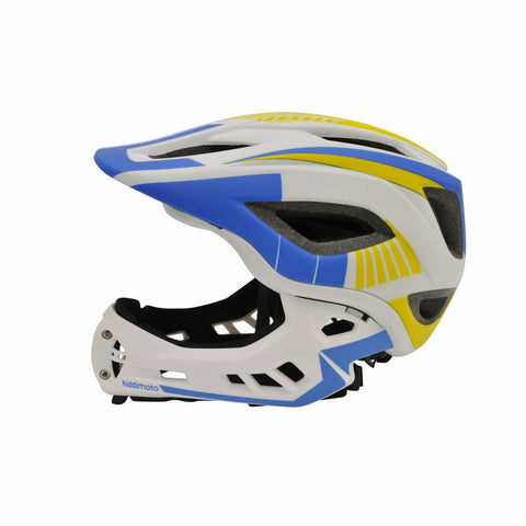Image of Kiddimoto Full Face Helmet For Kids White/Blue