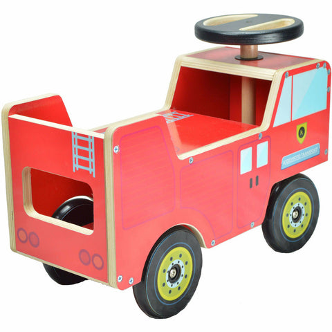 Wooden Fire Engine Ride On From Kiddimoto
