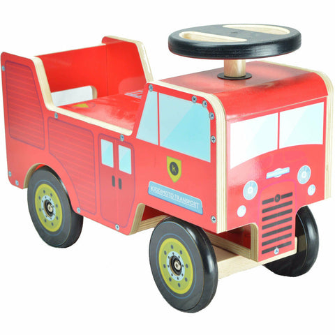 Image of Kiddimoto Fire Engine Wooden Ride On