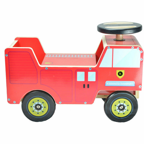 Image of Kiddimoto Wooden Red Fire Engine Ride On
