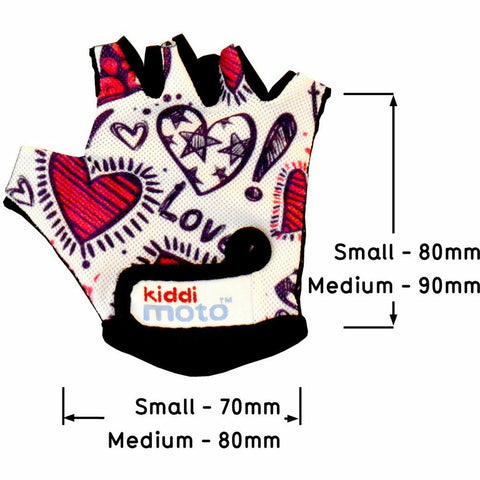 Kiddimoto Love Cycling Gloves Dimensions