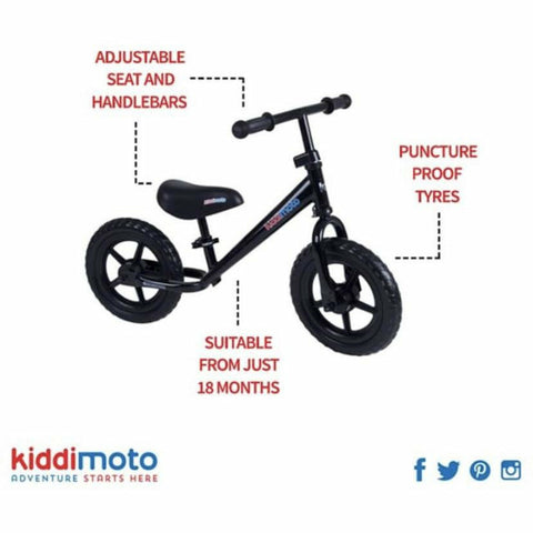 Image of Kiddimoto Red Super Junior Metal Balance Bike specification