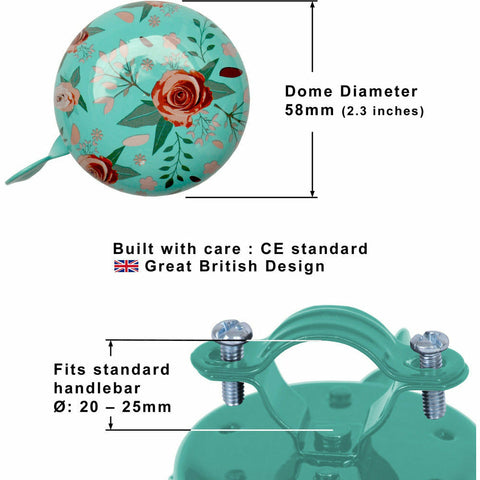 Image of Floral Bicycle Bell Dimensions
