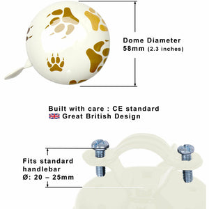 Kiddimoto Paws Printed Bicycle Bell Dimensions