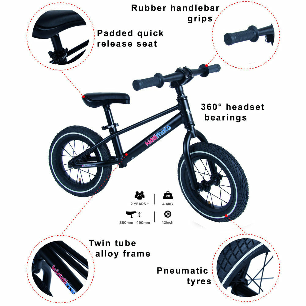 Matte Black Mountain Alloy Balance Bike