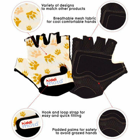 Image of Kiddimoto Paws Printed Cycling Gloves Specifications