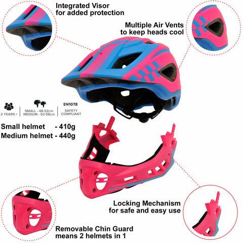 Image of Kiddimoto IKON Full Face Helmet - Pink/Blue