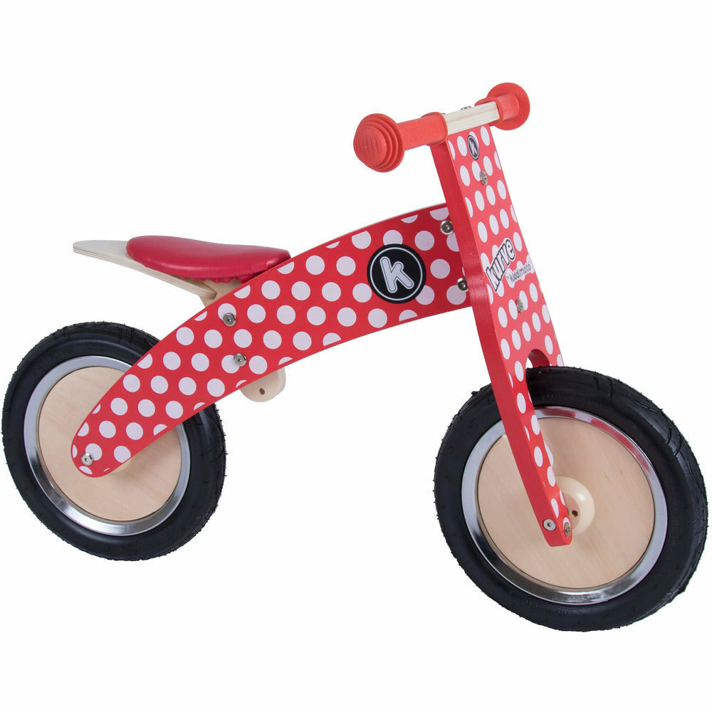Kiddimoto Wooden Balance Bike Red Dotty