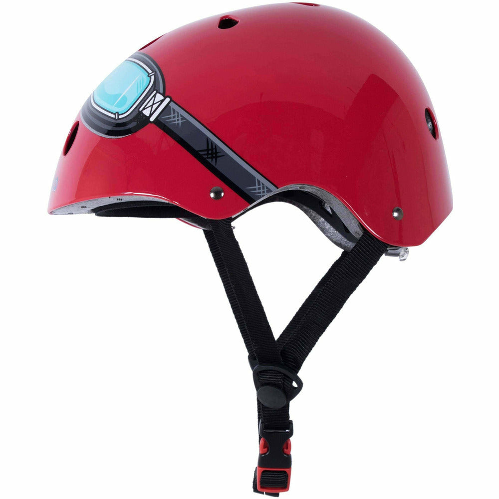 Kiddimoto BMX Helmet for Kids Red Goggle