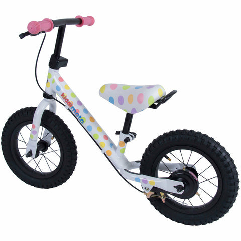 Image of Kiddimoto Pastel Dotty Super Junior Max Metal Balance Bike Back
