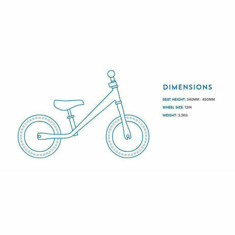 Image of Kiddimoto Red Super Junior Metal Balance Bike Dimensions