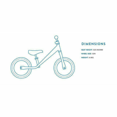 Image of Kiddimoto Pastel Dotty Super Junior Max Metal Balance Bike Dimensions