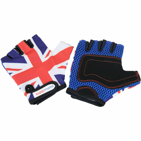 Kiddimoto Protective Kids Cycle Gloves Union Jack Bicycle Gloves