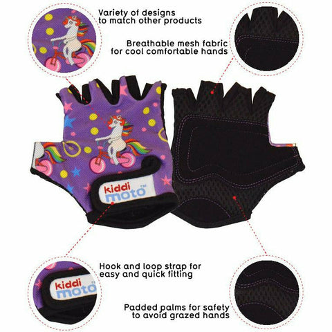 Kiddimoto Unicorn Cycling Gloves Front