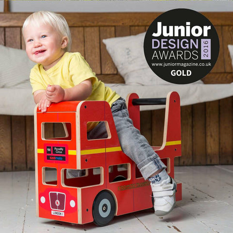 Image of Kiddimoto Red London Bus Baby Walker