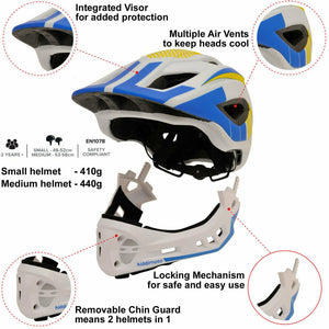 Kiddimoto IKON Full Face Helmet - White/Blue