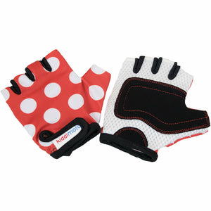 Kiddimoto Kids Bike Gloves Red Dotty Print