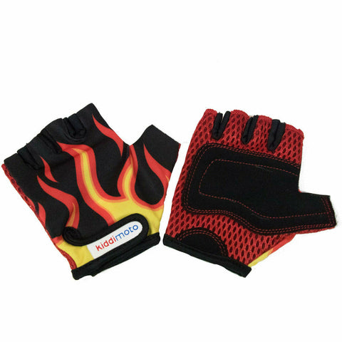 Image of Kiddimoto Protective Bike Gloves For Kids Flame Print