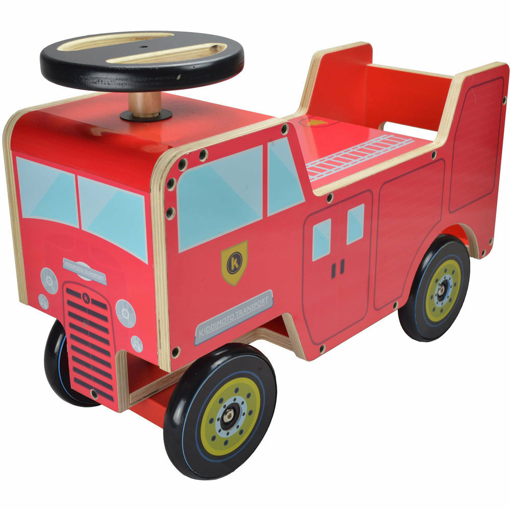 Kiddimoto Wooden Fire Engine Ride On Toy
