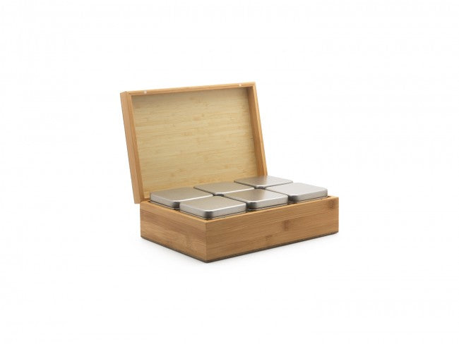 Bamboo tea box with 6 tin tea boxes for loose leaf tea