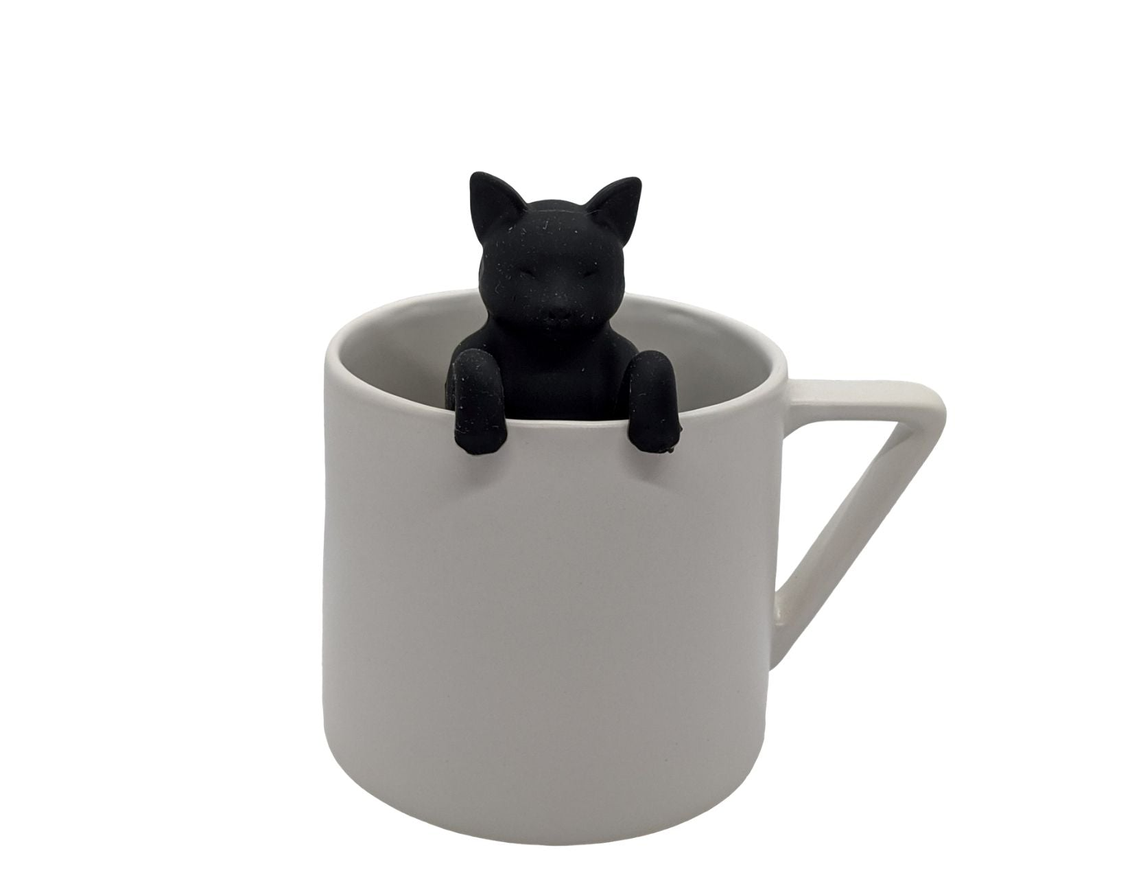 Black Cat Tea Infuser hanging from the side of a mug