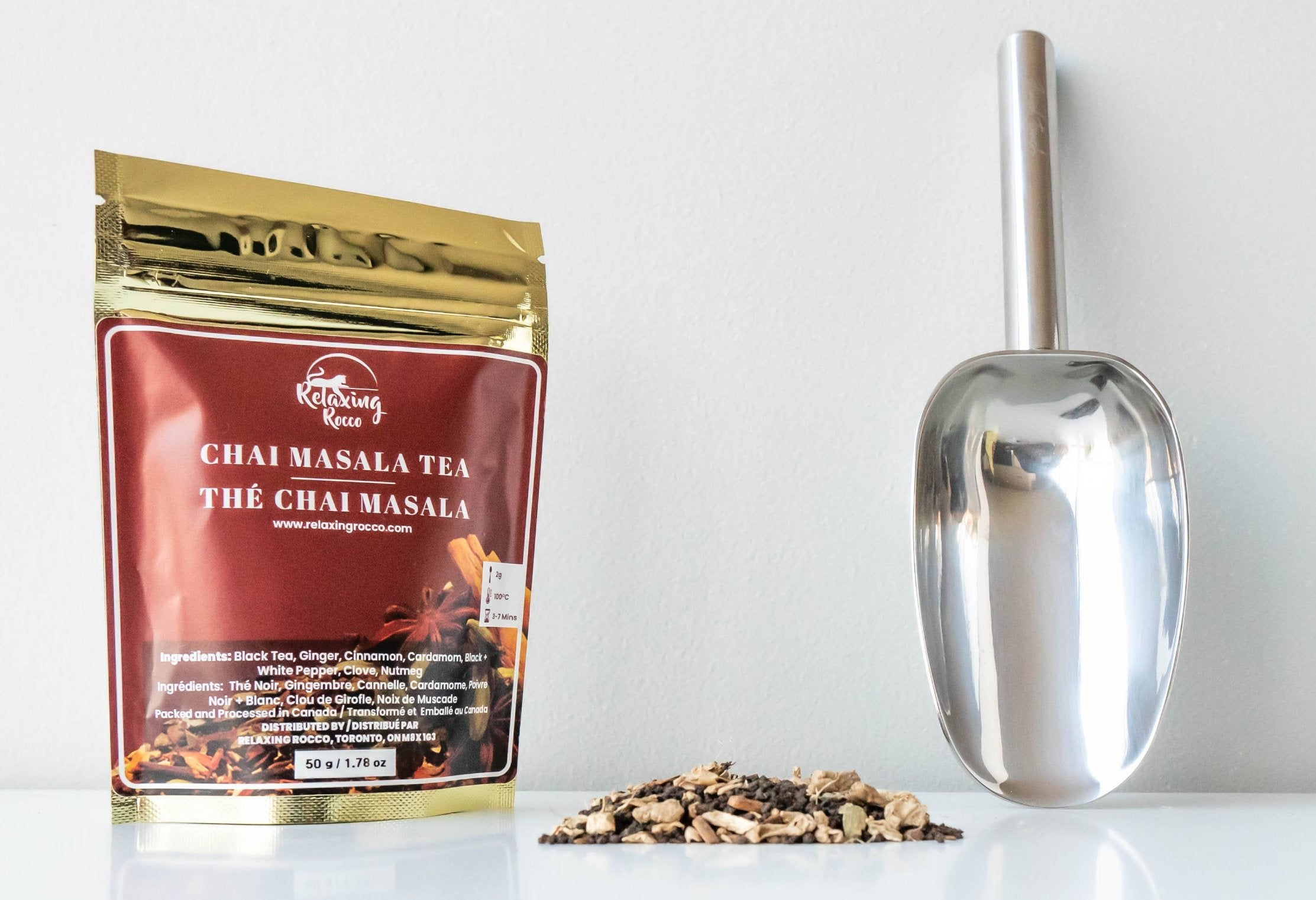 Chai Masala Relaxing Rocco Tea with sample and stainless steel scoop