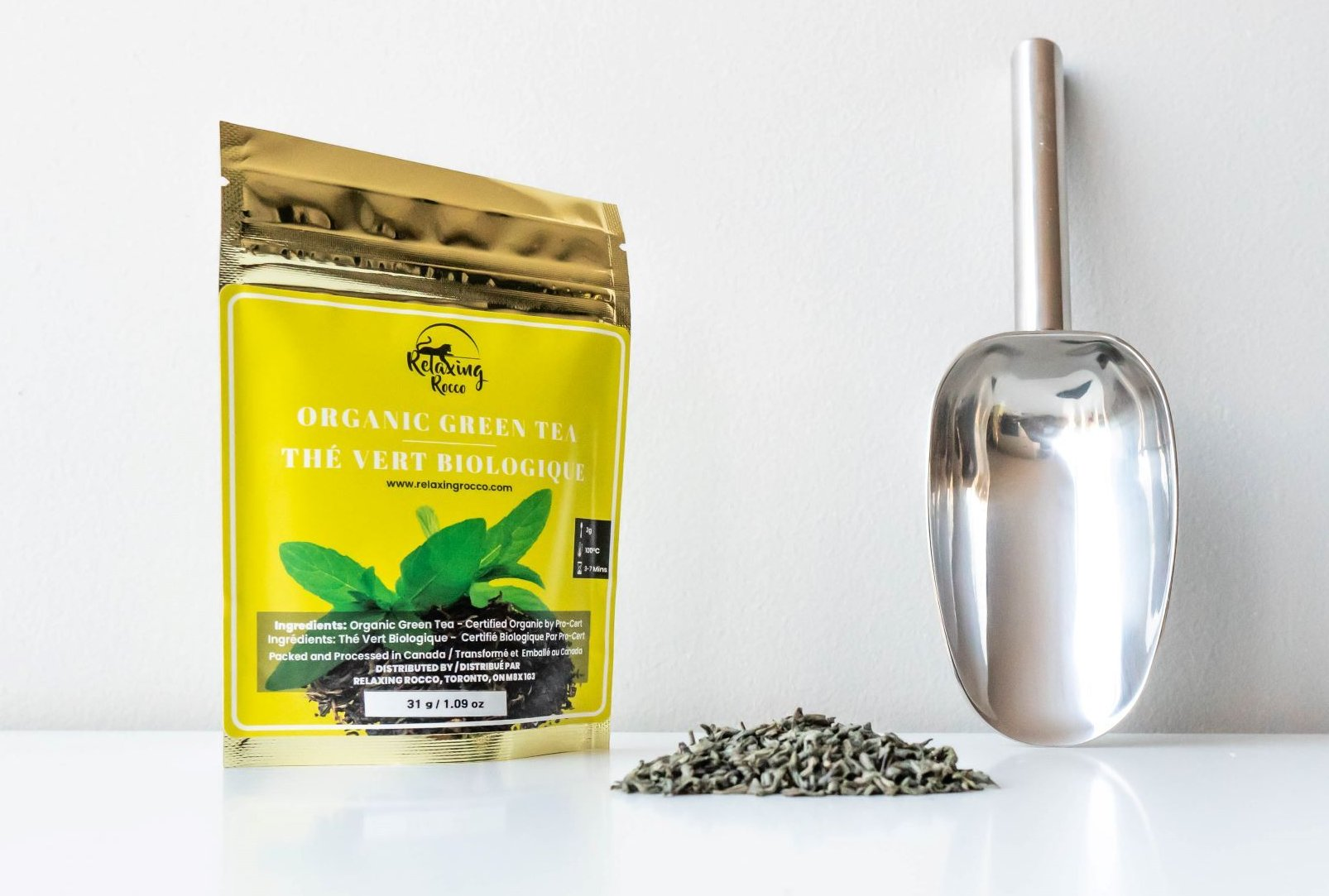 Package of Relaxing Rocco Green Loose Leaf Tea