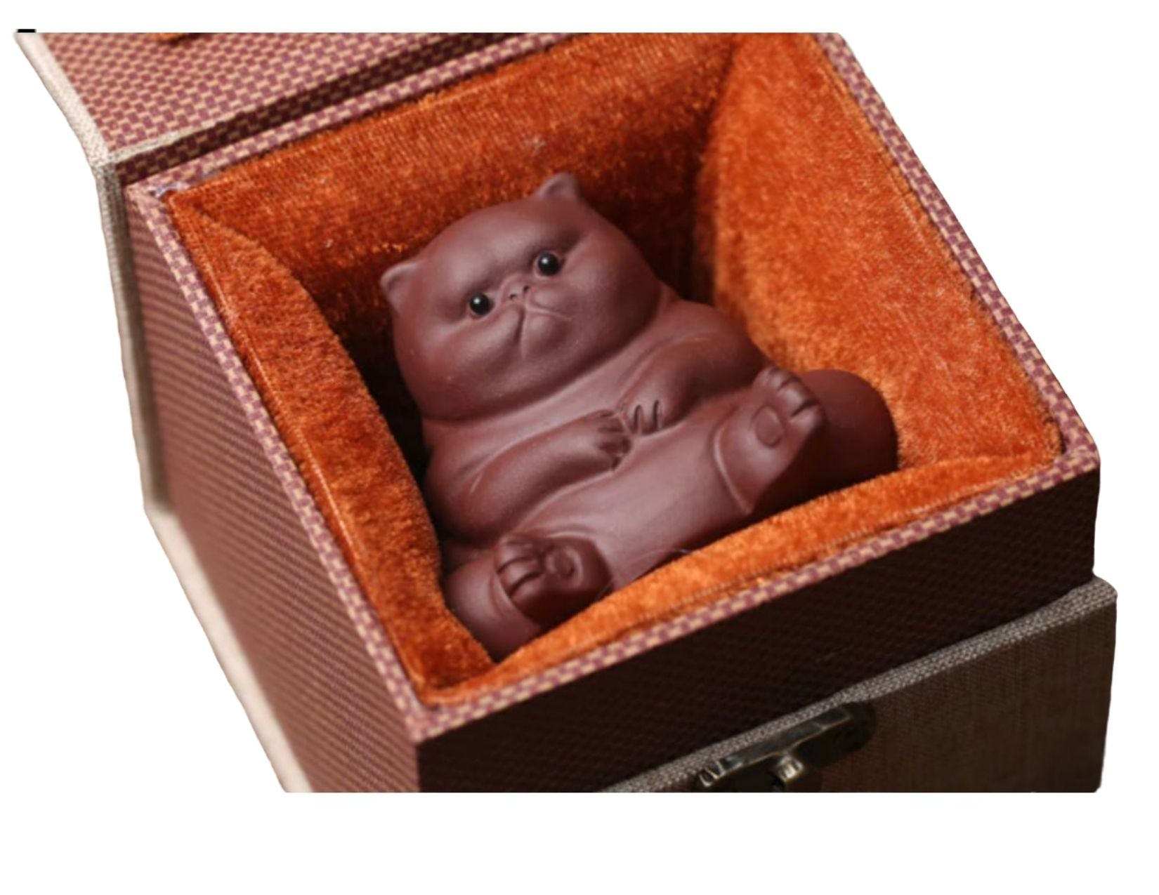 Purple Clay Fat Cat tea pet in a beautiful gift box with velvet interior