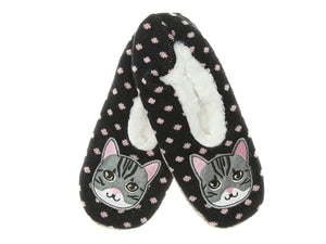 cute cat womens sherpa slippers with pink polkadots and grey can decal