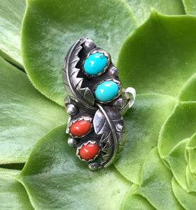 Vintage Navajo Turquoise and Coral Ring