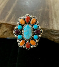 Load image into Gallery viewer, Multi-Stone Navajo Cluster Ring