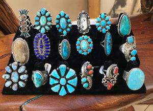 Multiple Rings in Turquoise, Coral, Lapis and Spiny Oyster