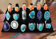 Load image into Gallery viewer, Multiple Rings in Turquoise, Coral, Lapis and Spiny Oyster