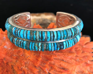 Corn Row Inlay Turquoise Bracelet