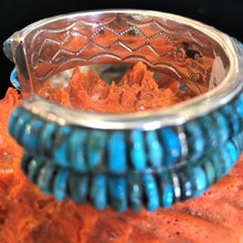 Load image into Gallery viewer, Corn Row Inlay Turquoise Bracelet