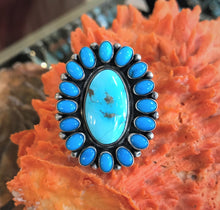 Load image into Gallery viewer, Turquoise Cluster Ring