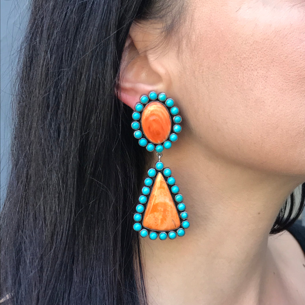 Turquoise and Spiny Oyster Cluster Earrings by Federico Jimenez