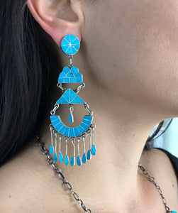 Turquoise Channel Inlay Earring by Federico Jimenez