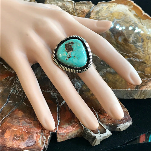 Navajo Turquoise Ring in a Shadow Box Setting