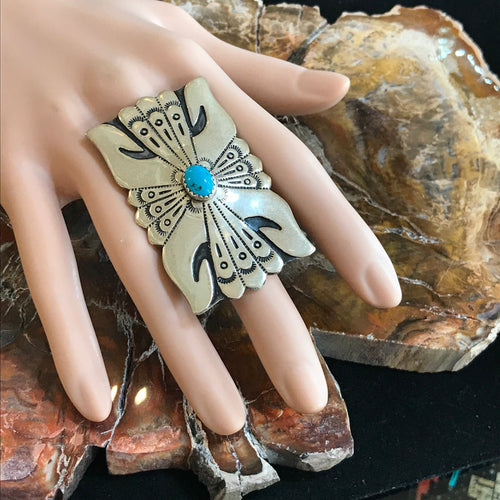 Sterling Silver and Turquoise Ring by Artist Rosita Singer