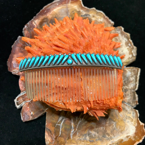Vintage Navajo Hair Comb with Turquoise