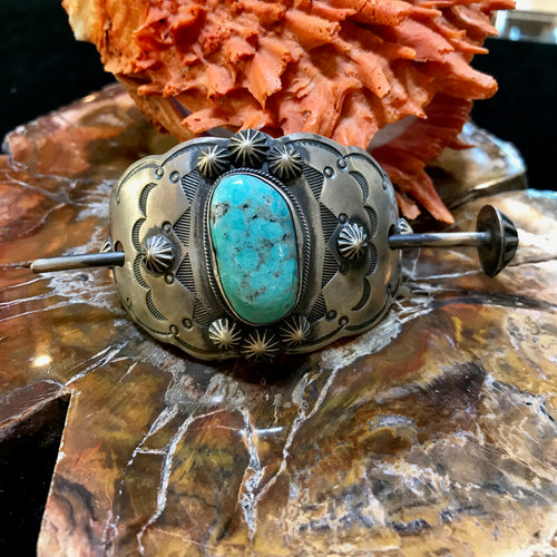 Vintage Sterling Silver and Turquoise Hair Barrette