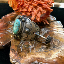 Load image into Gallery viewer, Vintage Sterling Silver and Turquoise Hair Barrette