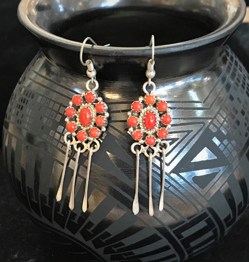 Zuni Cluster Coral Earrings