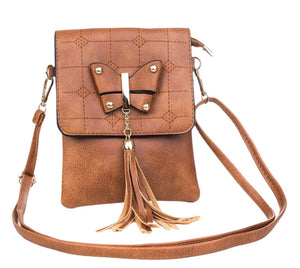 Cross over bag with butterfly - Caramel