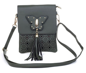 Cross over bag with butterfly - Black